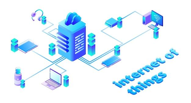 Ilustracja sieci inteligentnych urządzeń w technologii chmury internetowej Darmowych Wektorów