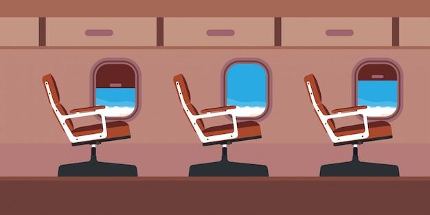 Ilustracja Siedzenia Pasażera Samolotu Kabiny. Błękitny Podróż Samolotu Kreskówki Wnętrza Strumień Z Okno. Premium Wektorów