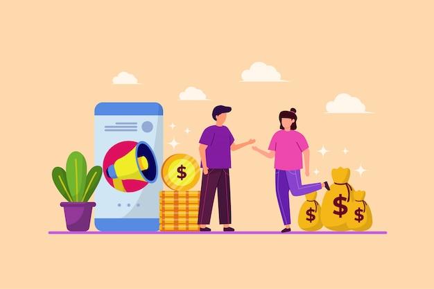Ilustracja Skierowań Do Znajomych I Strategii Biznesowych Z Płaskiej Koncepcji Projektu Premium Wektorów