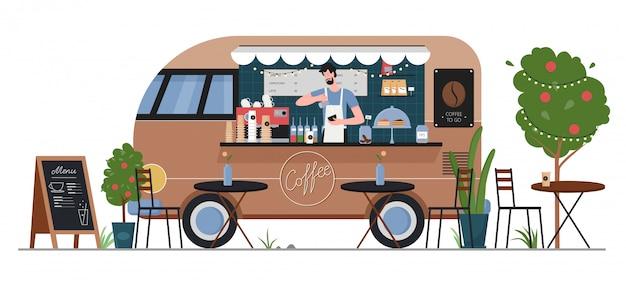 Ilustracja Sklep Z Kawą Uliczną. Kreskówka Płaski Fastfood Cafe Samochód Dostawczy Samochód Dostawczy Z Postacią Sprzedawcy Hipster Człowiek, Serwis Kawowy W Letnim Miejskim Rynku Ulicznym Na Białym Tle Premium Wektorów