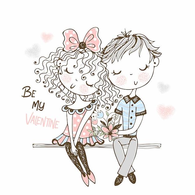 Ilustracja śliczna Chłopiec I Dziewczyna Na Pierwszy Spotkaniu. Premium Wektorów