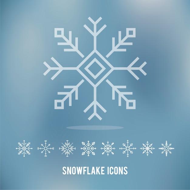 Ilustracja śliczne płatek śniegu ikony Darmowych Wektorów