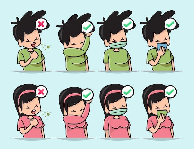 Ilustracja ślicznego Chłopca I Dziewczyny Z Właściwym Sposobem Zakrycia Ust, Gdy Kaszlesz Lub Kichasz Premium Wektorów
