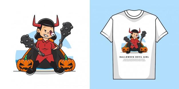 Ilustracja ślicznej Dziewczyny W Kostiumie Na Halloween To Kostium Diabła Z Motywem Dyni I Koszulki Premium Wektorów