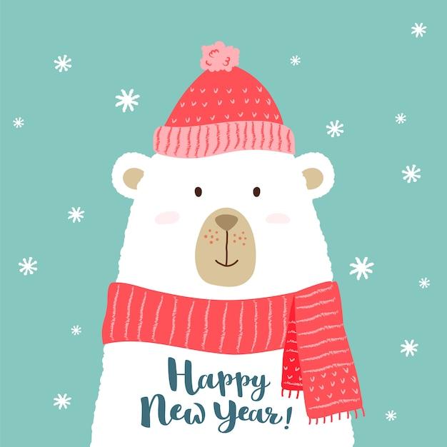 Ilustracja śliczny kreskówka niedźwiedź w ciepłym kapeluszu i szaliku z ręki pisać szczęśliwym nowego roku powitaniem. Premium Wektorów