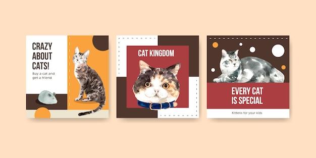Ilustracja Słodkie Koty W Stylu Przypominającym Akwarele Z Cytatami. Szalony O Kotach! Darmowych Wektorów