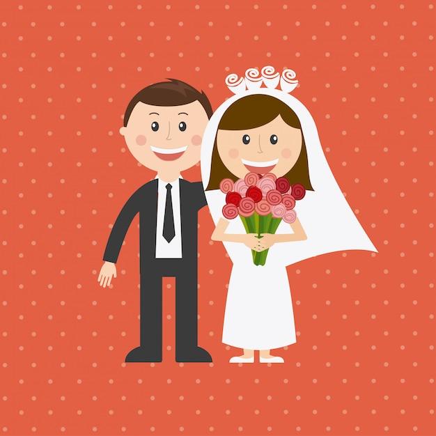 Ilustracja ślubna Darmowych Wektorów
