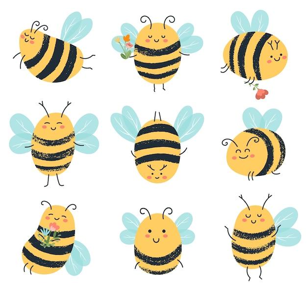 Ilustracja śmieszne żółte Pszczoły Znaków Premium Wektorów