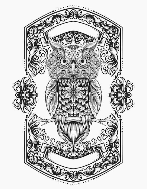 Ilustracja Sowa Styl Mandali Ptak Z Ornamentem Grawerowania Premium Wektorów