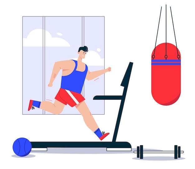 Ilustracja Sportowca Człowieka W Sportowym Mundurze Joggingu Na Bieżni. Wiszący Worek Treningowy, Sztanga Leżąca Na Siłowni. Zdrowy Tryb życia, ćwiczenia Cardio Premium Wektorów