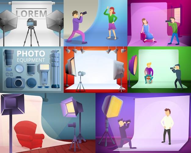 Ilustracja sprzęt fotograf na stylu cartoon Premium Wektorów