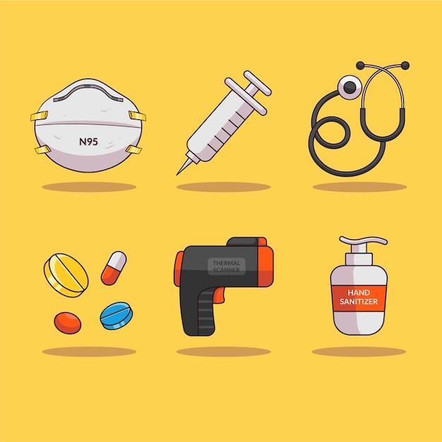 Ilustracja Sprzętu Medycznego Do Walki Z Koroną Premium Wektorów