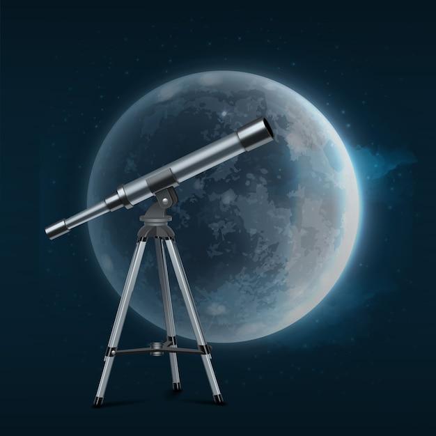 Ilustracja Srebrny Teleskop Na Statywie W Pełni Księżyca Na Niebieskim Tle Rozgwieżdżonego Premium Wektorów