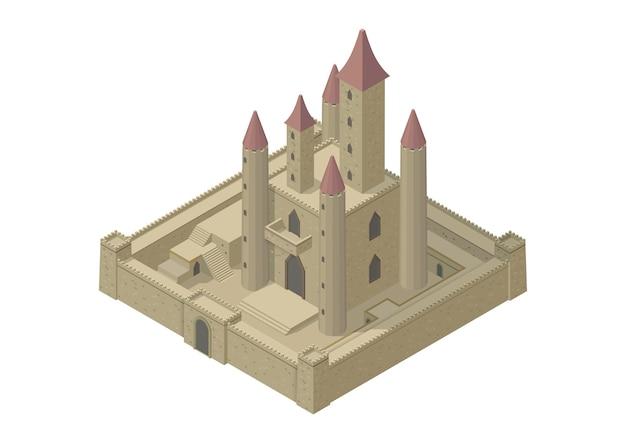 Ilustracja średniowiecznego Zamku Premium Wektorów