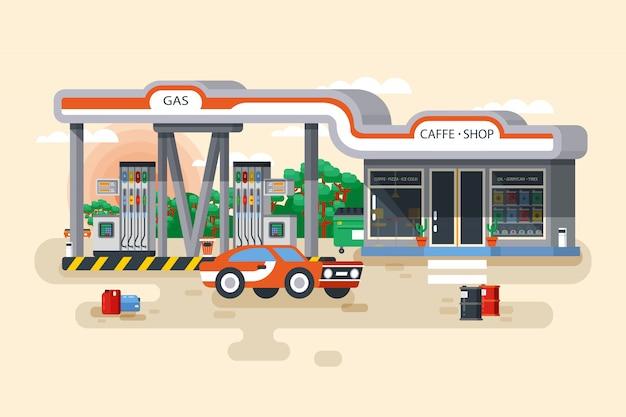 Ilustracja Stacji Benzynowej I Benzynowej W Stylu Płaskiej Premium Wektorów