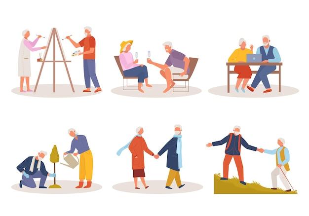 Ilustracja Starych Ludzi Aktywnego życia Premium Wektorów