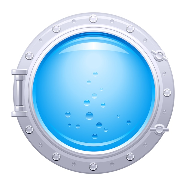 Ilustracja Statek Iluminator. Okno łodzi Podwodnej Z Widokiem Podwodnym. Niebieska Woda Z Bąbelkami. Premium Wektorów