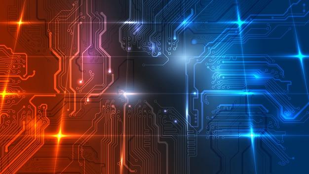 Ilustracja Streszczenie Tablicy Elektrycznej, Obwód. Streszczenie Nauki, Futurystyczny, Sieć, Koncepcja Sieci. Premium Wektorów