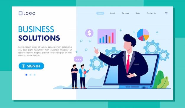 Ilustracja strony docelowej rozwiązań biznesowych Premium Wektorów