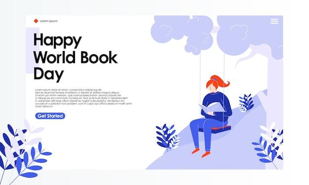 Ilustracja strony docelowej world book day Premium Wektorów