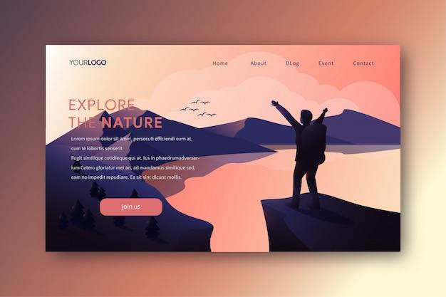 Ilustracja strony docelowej z wędrówki człowieka na szczyt Premium Wektorów