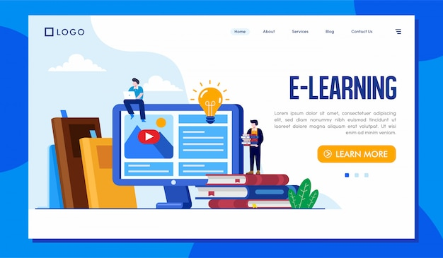Ilustracja Strony Internetowej E-learning Landing Page Premium Wektorów