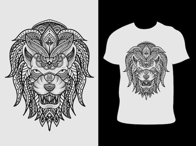 Ilustracja Styl Ornament Głowy Lwa Mandali Z Projektem Koszulki Premium Wektorów