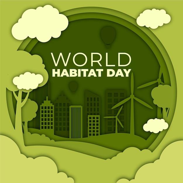 Ilustracja Stylu Papieru Na światowy Dzień Siedlisk Darmowych Wektorów