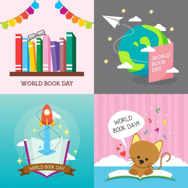 Ilustracja światowego dnia książki Premium Wektorów