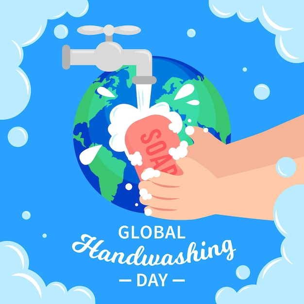 Ilustracja światowego Dnia Mycia Rąk Darmowych Wektorów