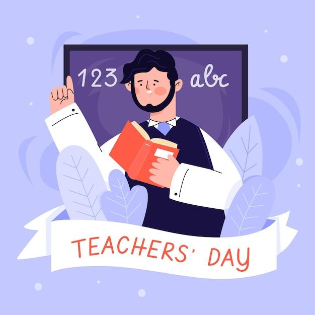 Ilustracja światowego Dnia Nauczyciela Darmowych Wektorów