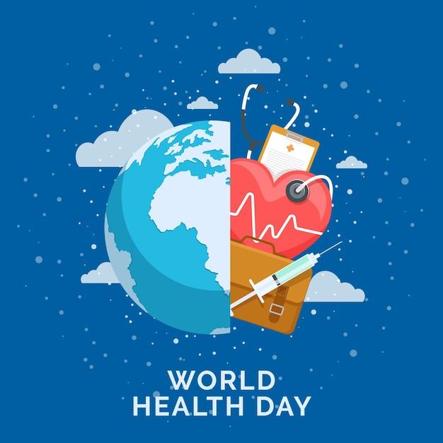 Ilustracja światowego Dnia Zdrowia Z Planetą I Stetoskopem Premium Wektorów