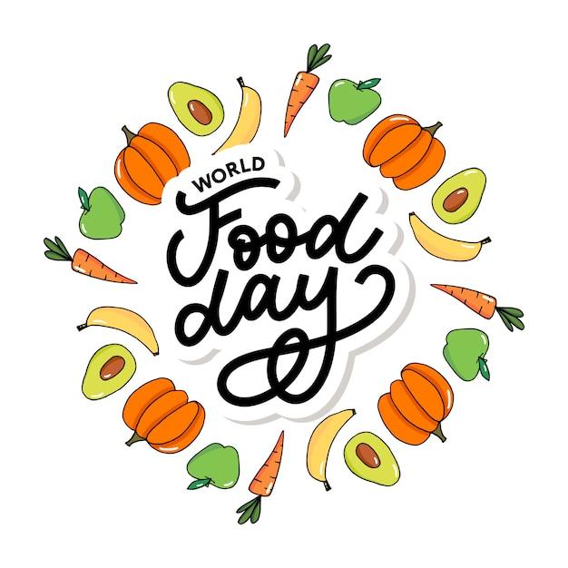 Ilustracja światowego dnia żywności Premium Wektorów