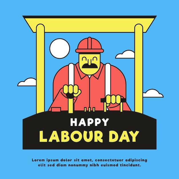 Ilustracja święto Pracy Płaska Konstrukcja Darmowych Wektorów