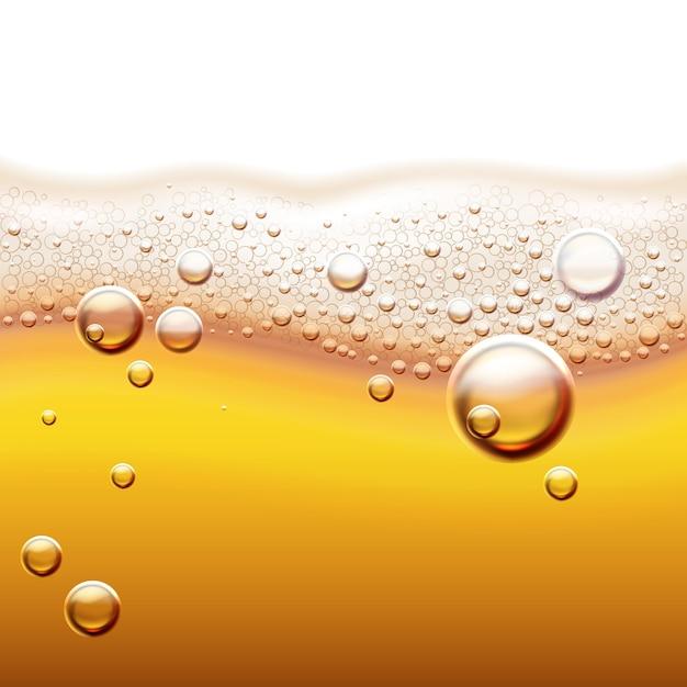 Ilustracja świeżego Piwa Lekkiego Z Bąbelkami Gazu Bursztynowe Płynne Tło Z Fali I Pianki Premium Wektorów