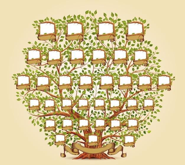 Ilustracja Szablonu Drzewa Genealogicznego Premium Wektorów