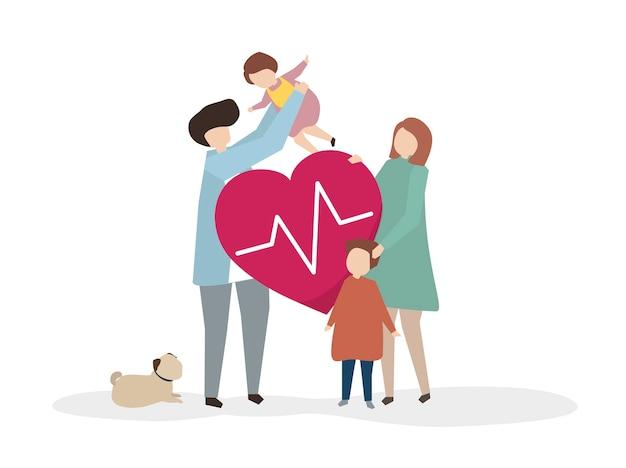 Ilustracja szczęśliwa zdrowa rodzina Darmowych Wektorów