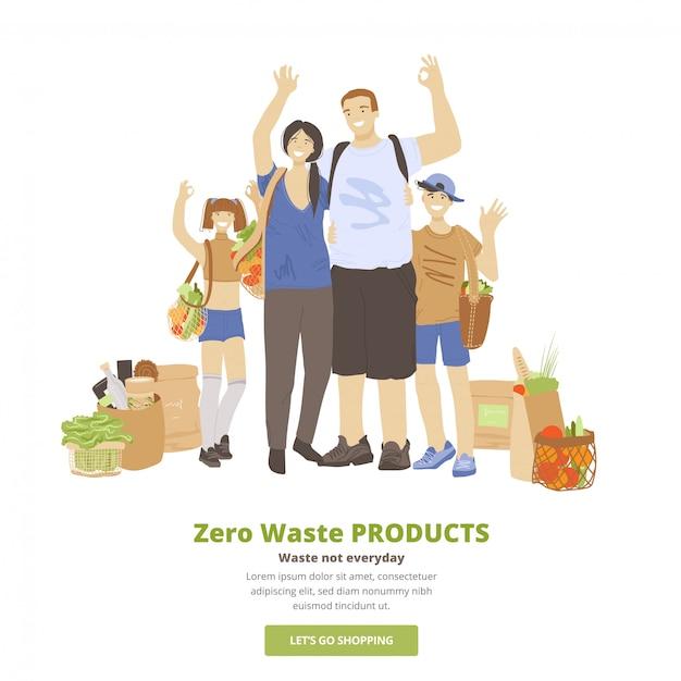 Ilustracja Szczęśliwej Wesołej Rodziny Mężczyzny, Kobiety I Dwojga Dzieci, Przytulania, Machania Rękami, Pokazywania Znaku Ok I Trzymania Zero Waste Products Ecological W Workach Wielokrotnego Użytku. Koncepcja Eko Rodziny Premium Wektorów