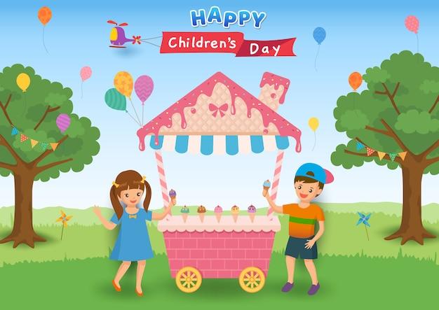 Ilustracja szczęśliwy dzień dziecka z dziećmi jeść lody na imprezie. Premium Wektorów