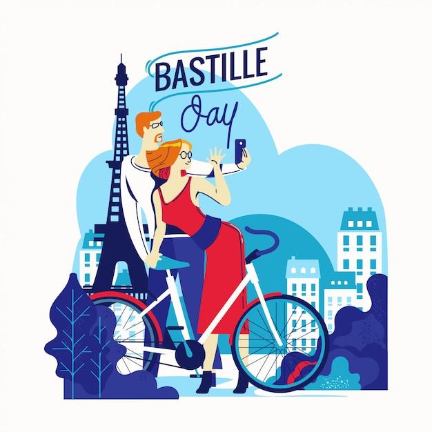 Ilustracja Szczęśliwy Ulotki I Karty Z Pozdrowieniami Bastille Day Na Francuski święto Narodowe Premium Wektorów