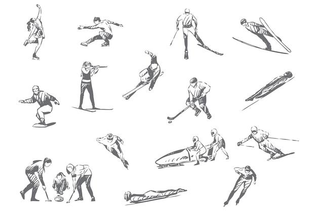 Ilustracja Szkic Koncepcji Zajęć Sportów Zimowych Premium Wektorów