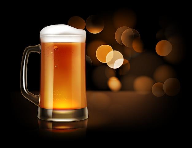 Ilustracja Szklany Kubek Pełen Piwa Z Pianką, Widok Z Przodu Na Ciemnym Tle Musujące Premium Wektorów