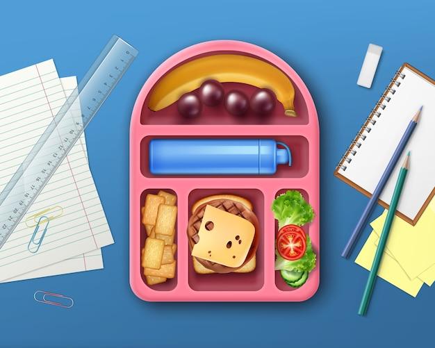 Ilustracja Szkolnego Pudełka Na Lunch Z Owocami Premium Wektorów
