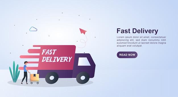 Ilustracja Szybkiej Dostawy Szybkim Samochodem. Premium Wektorów