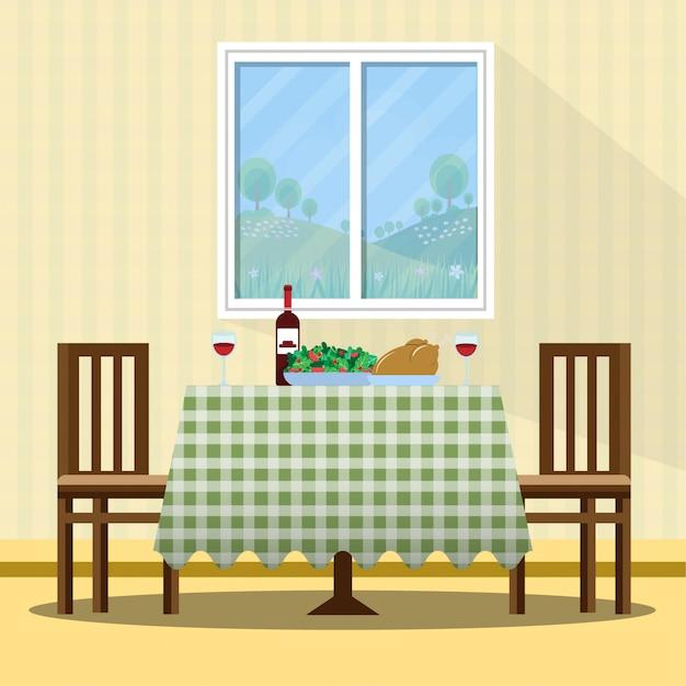 Ilustracja Tabela święto Dziękczynienia Premium Wektorów