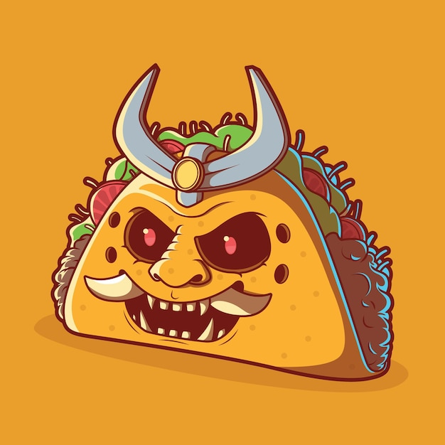 Ilustracja Taco Samurai. Fast Food, Dostawa, Zabawny Projekt. Premium Wektorów