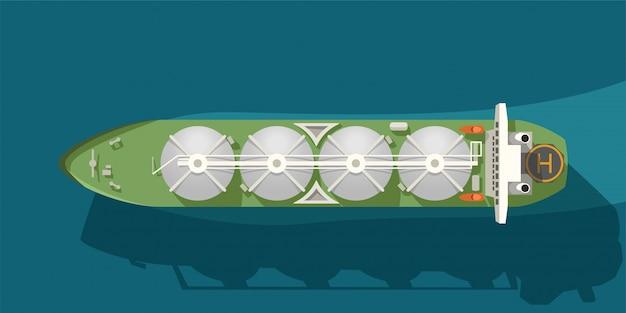 Ilustracja Tankowca Z Zbiornikami Gazu W Widoku Na Morze Z Góry Premium Wektorów