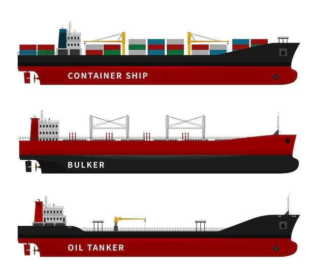 Ilustracja Tankowiec, Masowiec I Statek Premium Wektorów
