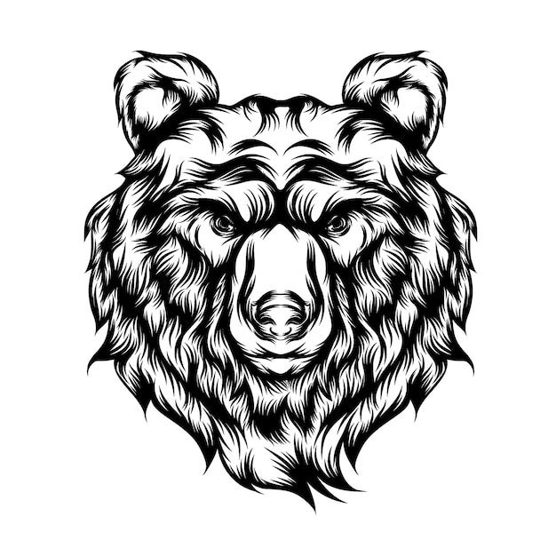 Ilustracja Tatuaż Wściekłego Wilka Z Długim Futrem Premium Wektorów