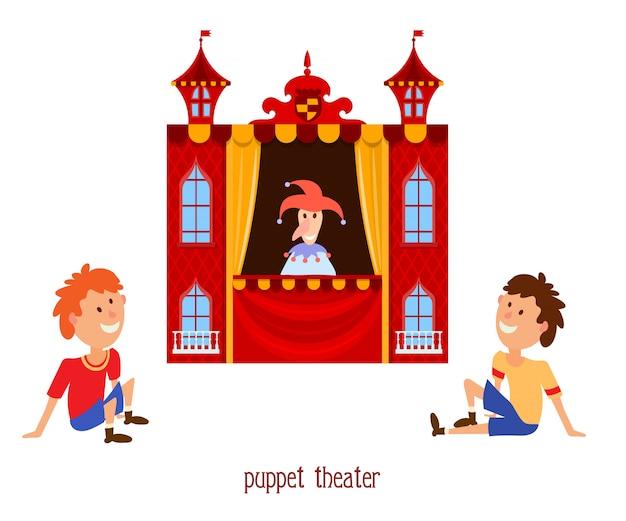 Ilustracja teatru lalek dla dzieci z lalką klauna i dzieckiem Premium Wektorów
